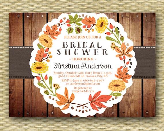 Rustic Fall Bridal Shower Invitation Rustic Wood Fall Leaves