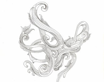 """Octopus Drawing - Scrollwork Cephalopod 2  - Original 7""""x7"""" Delicate Black and White Linework Drawing - Free Shipping"""