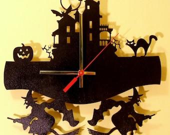 Halloween.witch. Modern wooden wall  clock.