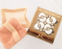 Vintage Compact Vanity - 1940s Family Treasure - Faux Ivory, Gold & Diamonds, Palm Sized