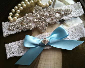 SALE-Wedding Garter - Blue-Ivory-White- Lace Garter Set - Rhinestone Garter - Applique Garter - Vintage - Bridal Garter - Toss Garter