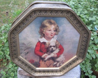 Vintage Hexagon Tin with Beautiful Picture of Boy and Girl 1980s era or before-Reduced