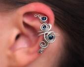 Left/Right Cartilage Ear Cuff Petrol Swarovski pearls in Silver Fairy Curls of Magic no piercing - tarnish resistant wire