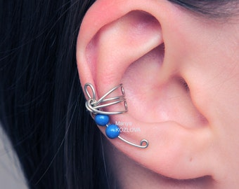 No Piercing Cartilage Ear Cuff Small Fantasy Dragonfly Blue Lazuli/fake false piercing/ohrklemme ohrclip/oreille manchette/conch ear jacket