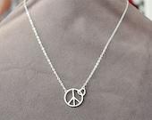 SALE Peace Sign Necklace - Peace and Love Symbol - Silver Rhodium Necklace - Peace Symbol - Rhodium Jewelry