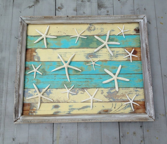 Framed Reclaimed Wood Starfish Art Beach Art