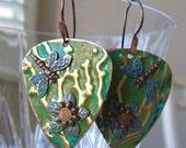 Embossed blue green earrings - Dragonfly and flower earrings