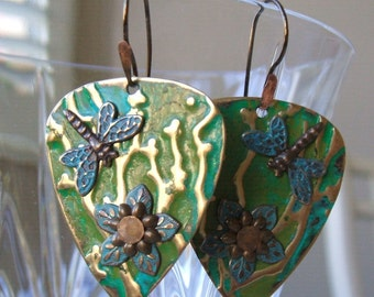 Embossed blue green earrings - Dragonfly and flower earrings