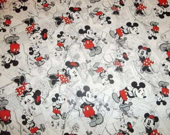 "Mickey & Minnie Mouse  Vintage Comic Strip  ""New Design ""   pattern  1/2   Yard - 100% Cotton Very Cute Fabric"