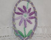 Embroidered Brooch - re-purposed vintage linen lilac daisy framed by couching