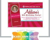 American Girl doll Invitation Design - Customized to your child's party info and photo- Print Yourself Digital File