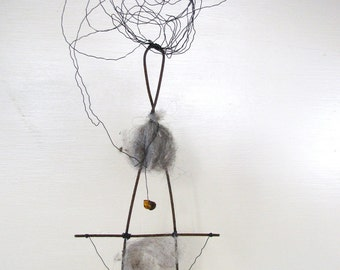 Joy in Nature Driftwood and Wire Sculpture Mixed Media Art