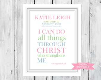 Baptism Christening Bible Verse Custom Print PDF digital download