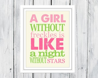Nursery Print A Girl without Freckles