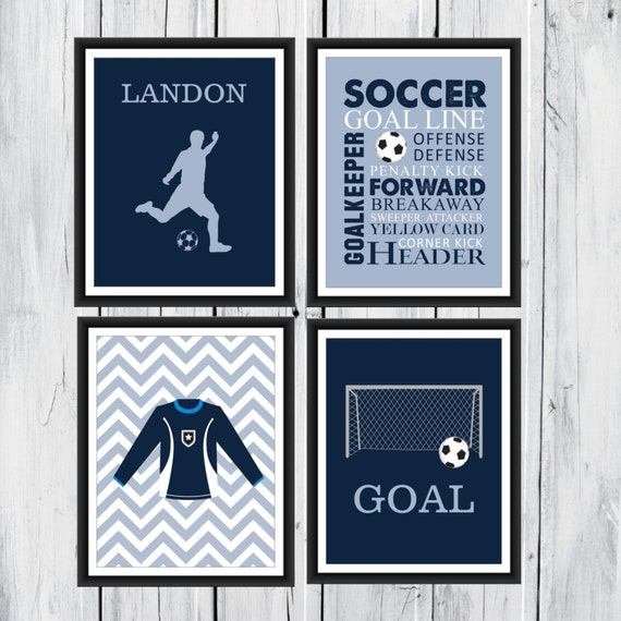 Items Similar To Soccer Wall Art 4 Piece Set Goal