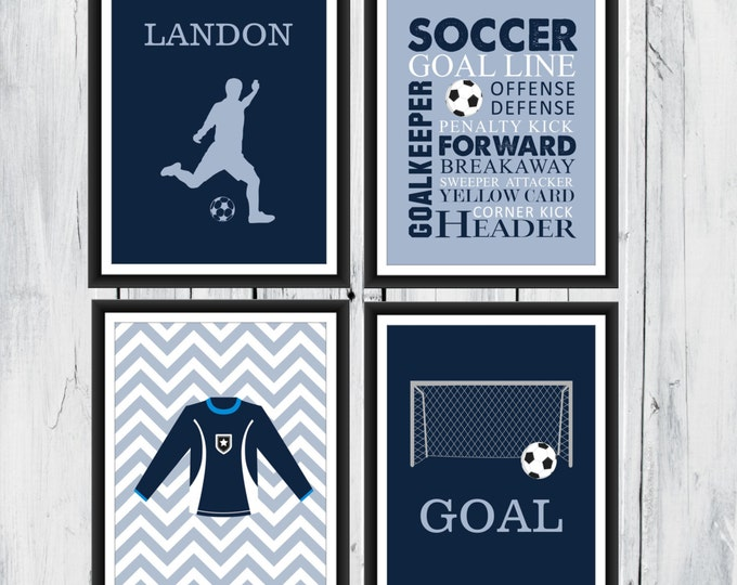 Soccer Wall Art - 4 Piece Set - Goal  - Soccer Jersey - Soccer Word Art - Canvas Available