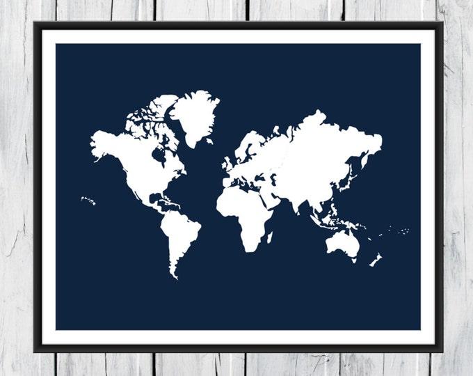 World Map Print - Nursery Wall Decor - Custom Colors