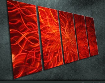 """Original Metal Wall Art Modern Shining Painting Sculpture Indoor Outdoor Decor """"Movement red"""" by Ning"""