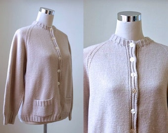 Oversize Slouchy Cardigan - Vintage Hand Knit - Women Knitwear - Medium Large