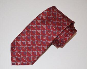 Oscar de la Renta Tie, Red Vintage Necktie, Men's Silk Tie, Deep Red Necktie, Men's Neckwear, Vintage Tie