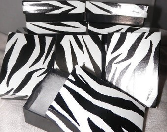 Jewelry Presentation Boxes, 10 Zebra, Cotton filled Gift Boxes, Display Boxes size 3.25x2.25
