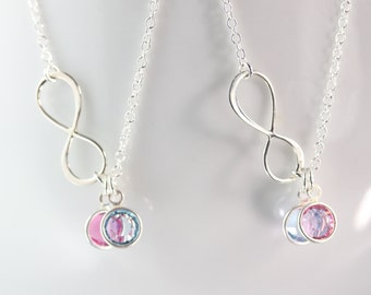 Mother daughter set, Infinity Friendship necklace, Sisters Necklace, Personalized Birthstone, Mother Daughter jewelry, Friendship Necklace