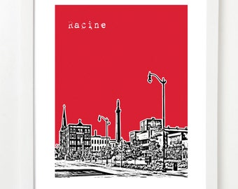 Racine Art  Print - Racine Wisconsin Skyline Poster