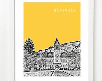 Missoula, Montana Poster - Missoula City Skyline Art Print - Missoula Art Print -