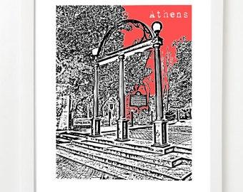 Athens Georgia Art Print - Athens Arch - Athens, GA Skyline Poster - VERSION 2