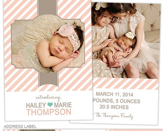 Birth Announcement Template for Photographers Photo Card Template Photography Birth Announcement Photoshop Card Template - BA152