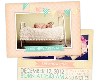 Birth Announcement Template for Photographers Photo Card Template Photography Birth Announcement Photoshop Card Template - BA124