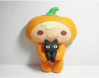 Pumpkin Kid and Black Cat - Halloween Felt doll PDF pattern, e-pattern, DIY
