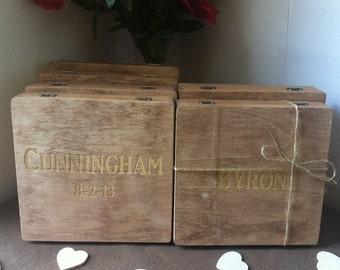 Groomsmen Gift - Set of 3 Wooden Cigar Box - Keepsake Gift - Wooden Gift Box - Felt Lined - Eco Friendly Stain - Bridal Party Gift