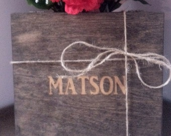 Rustic Groomsmen Gift - ONE Wooden Cigar Box - Laser Engraved Name - Felt Lined Bottom - Stained and Personalized Wooden Box