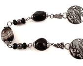 Necklace Onyx Chunks - Onyx beads - Gunmetal pendants - Clearance Sale