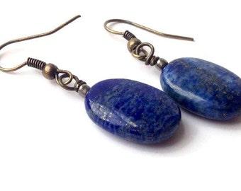 Lapis Lazuli Earrings, Lapis Dangle Earrings, Dark Blue Earrings, Lapis Earrings, Blue Lapis Earrings