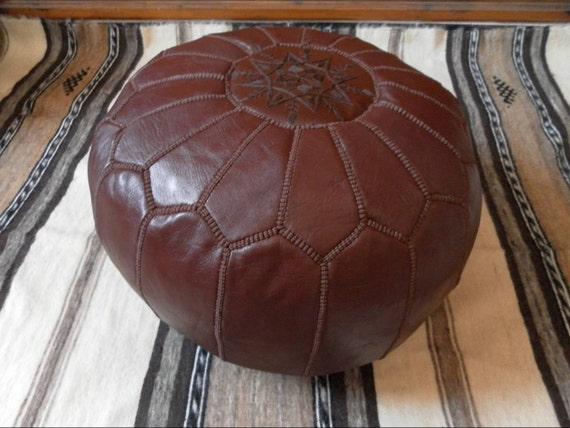 Leather FLOOR PILLOW ( Pouf )  :hand stitched / embroidered  BR