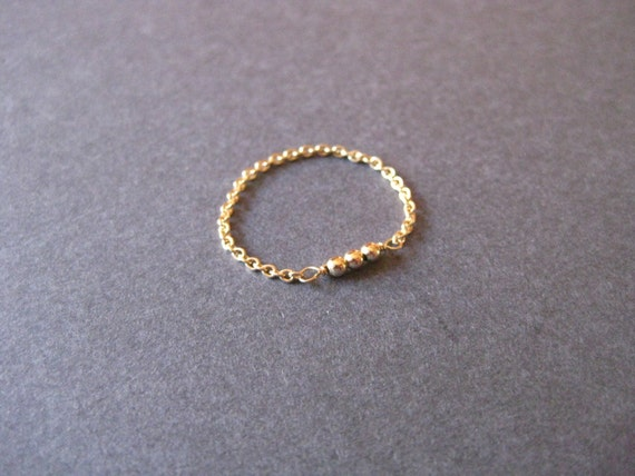 Tiny Gold Beads Chain Ring - Promise Ring, Engagement, Anniversary Modern Minimalist