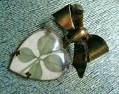 Vintage Four Leaf Clover Brooch, Lucite Heart Ribbon Brooch, Valentines Day Heart