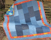 Denim Quilt - Animal Babies- Baby Quilt, Youth Quilt