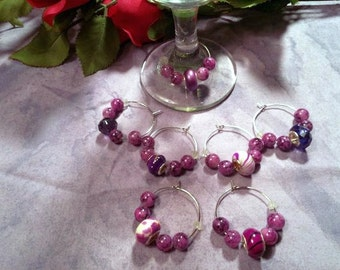 Wine charms, Purple Rain, set of seven