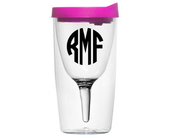Vino2Go Personalized Monogram Wine Sippy Cup Acrylic Tumbler (Choose Your Color)