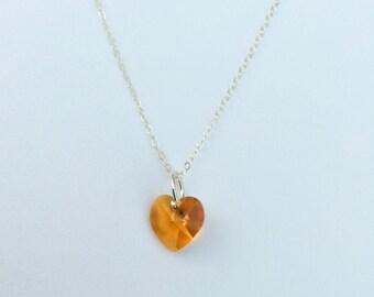 Heart Topaz Swarovski Crystal & Sterling Silver Necklace
