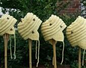 Knitting Pattern-Baby Beehive Hats, knit baby hat earflap pattern, infant, toddler, Naturally Nazareth, PDF pattern