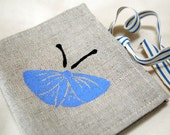 Butterfly/moth hand printed linen needle case/needle book -  blue pink handmade sewing accessory