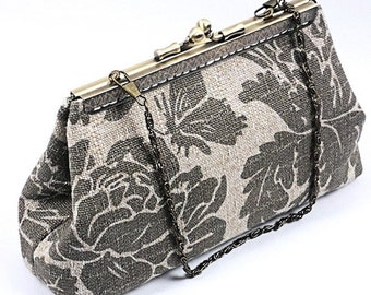 Handmade Clutch Purse with Sewn On Frame, Sage and Khaki Floral Barkcloth Bag, Special Occasion Bag by WhiteCross Designs Ready to Ship