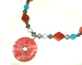 Wire Wrapped Rust and Blue Beaded Necklace