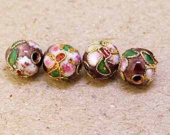 20Beads cloisonné enamel 6mm  Round Brown cloisonne Pink Flower cloisonne Loose Bead Handwork Bead Chinese cloisonne Fashion Dsign Jewelry