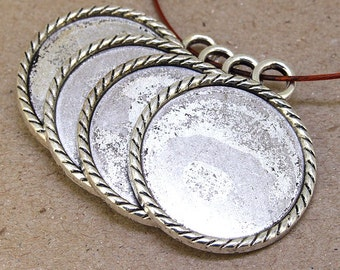 Cabochon setting-- Circle pendant Base link Silver Plated Connectors 33mm-- 3 Pieces- Cameo Setting Base Link Fit 30mm Gemstone Bead 2AN