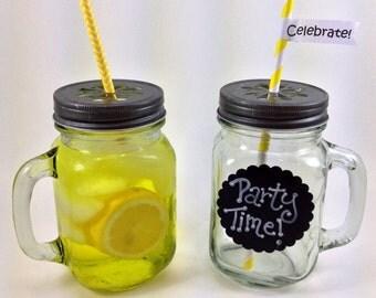 3 Glass Mason Mugs with Handle and Pewter Daisy Lids - 16 oz Jars